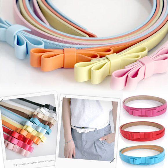 Lady Bow Skinny Belt Popular Butterfly colorful fashion narrow waist