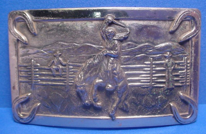 on Bucking Horse SOLID STERLING (I think) Antique Belt Buckle