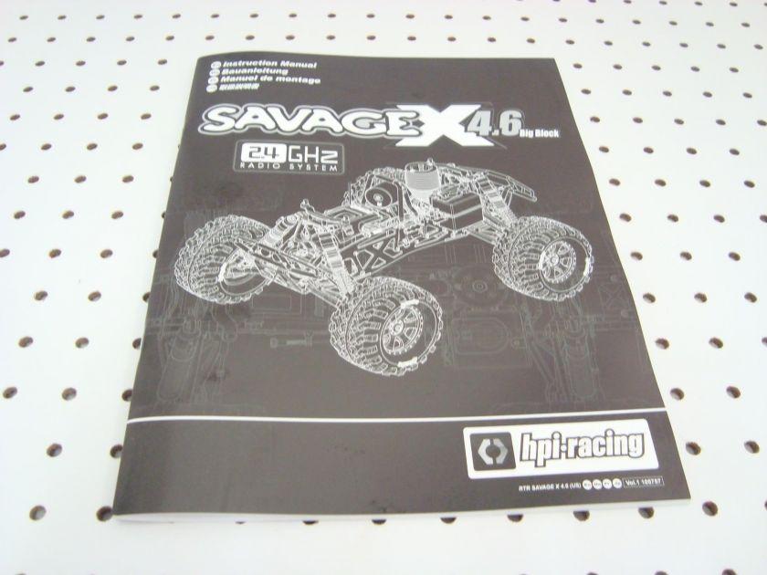 HPI RACING SAVAGE X 4.6 BIG BLOCK OWNERS MANUAL 105757