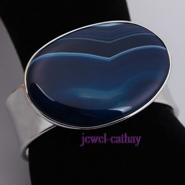 New fashion Dark BLue & White stripe Agate Ajustable Cuff Bracelet