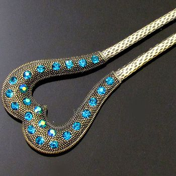 Item  1pc Austrian rhinestone crystal Antiqued hair fork