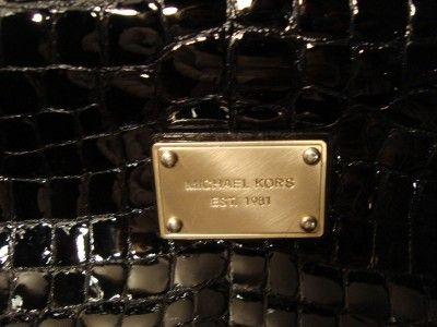 Michael Kors Black Patent Leather With Chains Handbag Purse Large