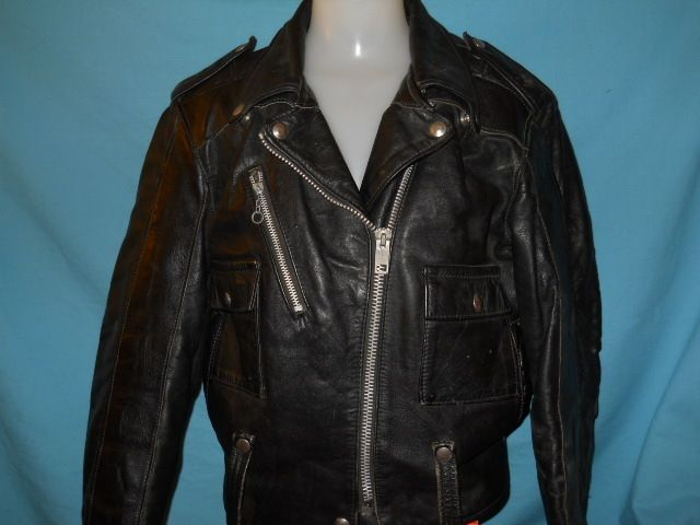 HARLEY DAVIDSON BLACK LEATHER MOTORCYCLE JACKET WOMENS SIZE 38