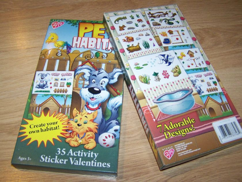 Pet Habitat Activity Sticker Valentines Day Cards Dog N